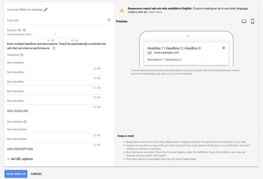 Afbeelding 1: Responsive Search Ads kunnen 15 titels en 4 beschrijvingen (met maximaal 90 tekens) bevatten.